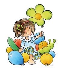 Marianne Design timbro trasparente: Snoesjes, ragazza con palloncini