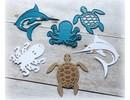 Joy!Crafts und JM Creation Stempling og prægning stencil, Squid, Turtle, Shark