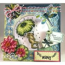 EXCLUSIVO HEARTFELT de los EE.UU.! Conjunto de sellos: Froggy Hangout