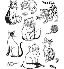 Viva Dekor und My paperworld I timbri trasparenti, gatti