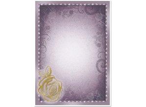 "DESIGNER BLÖCKE  / DESIGNER PAPER 5 arc deco-box ""Rose"", silver / gold-laminated in 5 color!"