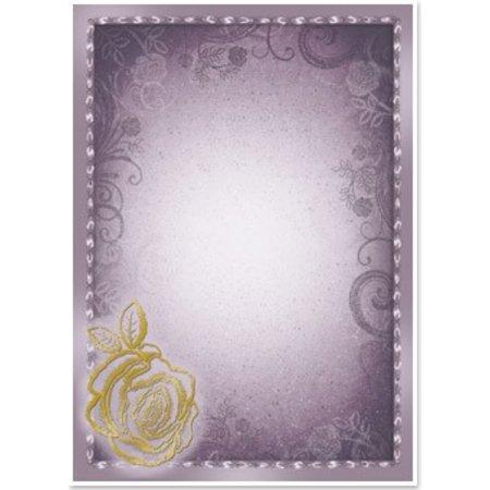 """DESIGNER BLÖCKE  / DESIGNER PAPER 5 arc deco-box """"Rose"""", sølv / guld-lamineret i 5 farver!"""