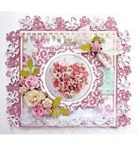 Joy!Crafts und JM Creation Troquelado y estampado en relieve plantilla: Frontera con las flores