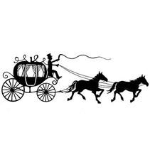 Stempel Transparent: silhuet Carriage med heste