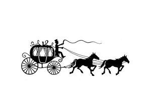 Stempel / Stamp: Transparent Stempel Transparent: silhuet Carriage med heste