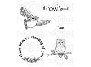 "Heartfelt Creations aus USA Rubber stamp set ""It's Owl Good"""