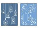 Sizzix Prægning mapper, 2 stykker, fugle og birdhouses
