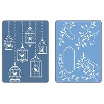 Goffratura cartelle, 2 pezzi, uccelli e nicchie