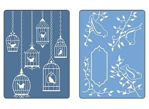 Sizzix Embossing folders, 2 pieces, birds and birdhouses
