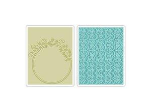 Sizzix Goffratura cartelle, 2 pezzi, con fiori e design rosmarino