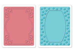 Sizzix Prägefolder, 2 Stück, Rahmen mit swirls und Rahmen mit Punkten