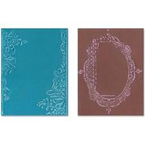 Goffratura cartelle, 2 pezzi, telaio con turbinii e cornici con motivi floreali