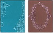 Sizzix Gofrado carpetas, 2 piezas, marco con remolinos y cuadros con motivos florales