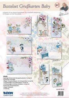BASTELSETS / CRAFT KITS: Set completo per 4 carte e 4 sacchetti regalo !!