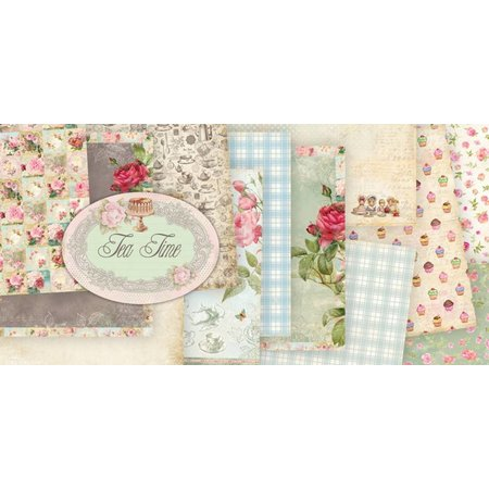 """Designer Papier Scrapbooking: 30,5 x 30,5 cm Papier Designerblock Vintage """"Tea Time"""", 30,5 x 30,5 cm"""