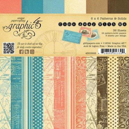 Graphic 45 Designer Block, 15,2 x 15,2 cm, Kom væk med mig