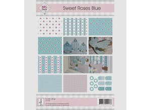 "DESIGNER BLÖCKE  / DESIGNER PAPER A4, paper and labels, ""Sweet Roses Blue"""