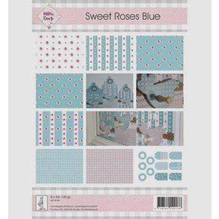 "DESIGNER BLÖCKE  / DESIGNER PAPER A4, papel y etiquetas, ""Sweet Roses azul"""