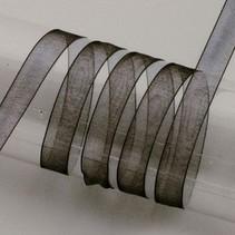 Organza bånd selvage, 6 mm, sort