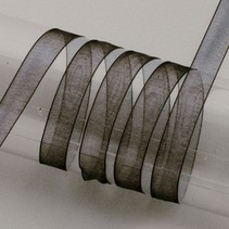 Organzaband Webkante, 6 mm, schwarz