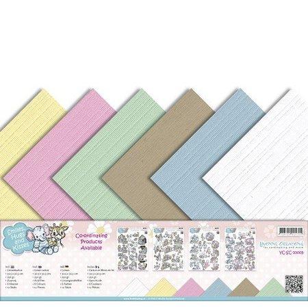 Amy Design Leinen Karton 30,5 x30,5 cm, zarte Farben