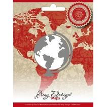 Stempelen en embossing stencil, Amy Design, Maps, Globe