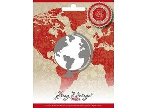 Amy Design Stempling og prægning stencil, Amy Design, Maps, Globe