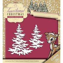 Troquelado y estampado en relieve plantilla: árboles de Navidad con nieve