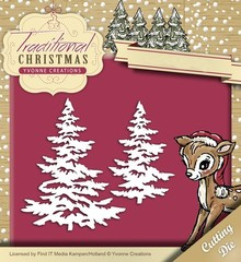 Yvonne Creations Punching and embossing template: Christmas trees with snow