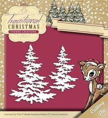 Yvonne Creations Stanz- und Prägeschablone: Weihnachtsbäume mit Schnee