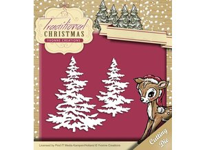 Yvonne Creations Stansning og prægning skabelon: Juletræer med sne