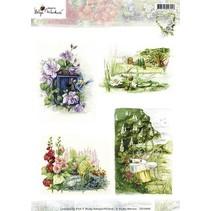 A4 broadsheet, tema: havearbejde og blomster