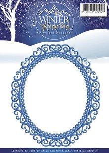 Precious Marieke Punzonatura e modello di goffratura: bella cornice ornamentale, ovale
