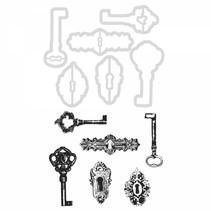 Stempel Schlüssel und Schlüssel Löcher + passende Stanzschablone