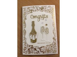 Spellbinders und Rayher Stamping and embossing stencil, Spellbinders, Bottle + 2 glasses