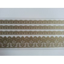 Lace borders Rub On Transfer, beige-gold color