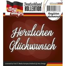 Punzonado y estampado en relieve plantillas: texto en alemán: Gracias Glückwunsch