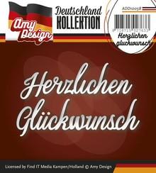 Amy Design Stanz- und Prägeschablonen: deutsche Text: Herzlichen gluckwunsch