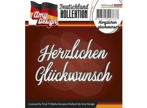 Amy Design Stansning og prægning skabeloner: Tysk tekst: Tak gluckwunsch