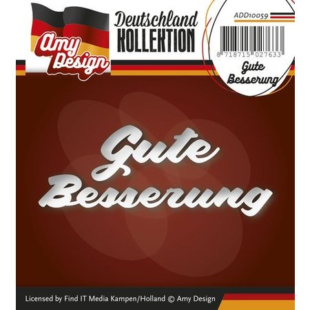 Amy Design Punching and embossing templates: German Text: Get well soon