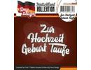 Amy Design Punzonado y estampado en relieve plantillas: texto en alemán: Para la boda del bautismo nacimiento