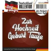 Punzonado y estampado en relieve plantillas: texto en alemán: Para la boda del bautismo nacimiento