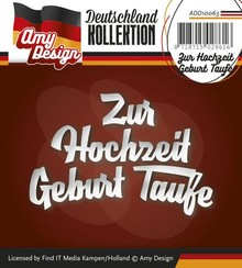 Amy Design Punching and embossing templates: German text: To Wedding Birth Baptism