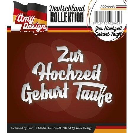 Amy Design Stanz- und Prägeschablonen: deutsche Text: Zur Hochzeit Geburt Taufe