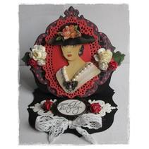 3D libro A5, las mujeres con el sombrero