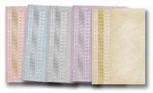 """DESIGNER BLÖCKE  / DESIGNER PAPER 5 arc deco-box """"tips"""", guld-lamineret i 5 farver!"""