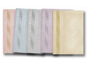 "DESIGNER BLÖCKE  / DESIGNER PAPER 5 arc deco-box ""tips"", gold-laminated in 5 color!"