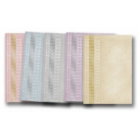 """DESIGNER BLÖCKE  / DESIGNER PAPER 5 Bogen Deko-Karton """"Spitzen"""", gold-laminiert in 5 Farbe!"""