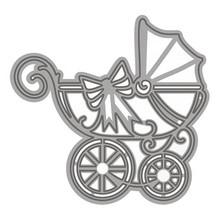 TONIC 20% RABATT! Stanz- und Prägeschablone: Kinderwagen mit Schleife
