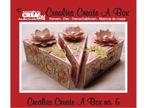Crealies und CraftEmotions Punching and embossing template for a piece of cake box